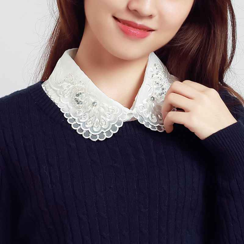 Women Collar Detachable Lapel Shirt Fake Hollow Out Embroidery Crystal Bead Lace