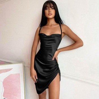 Black Silk Dress Women Sexy V-Neck Sleeveless Hight Split Hem Knee-Length Strap Dress Slim Summer Party Dresses Women 2
