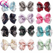 60pcs 5inch Hot style double-layer children's bow hair clip silver onion yarn polyester with bubble flower hair accessories jojo(China)