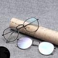 Оправа для очков seemfly в стиле ретро Ультралегкая, модная круглая металлическая оправа, плоские зеркальные прозрачные линзы, винтажные оптич...