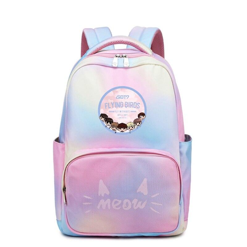 Rainbow Color Women Backpack Kpop GOT7 JB Waterproof Travel Bagpack Cute Bookbag Cartoon Laptop Backpack Pink Shoulder Bags