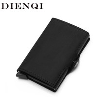 DIENQI Genuine Leather Credit Card Holder Case Anti Rfid Protector Wallet Aluminum Men Women Metal Bank Business id Card Holder(China)