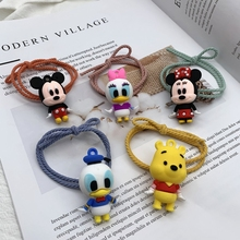 Dnisy Anime Mickey Minnie Hair Rope Women Cartoon Doll Hair Rings Elastic Rubber Bands Girl Baby Head Band Headdress Accessories cute cartoon girl mickey hair rope minnie doll anime daisy donald headband for kid knotted hair loop women holder headdress gift