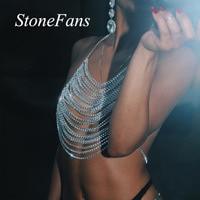 Stonefans Shiny Multilayer Full Rhinestone Bralette Top for Women Sexy Bikini Beach Crystal Body Harness Chain Chest Jewelry