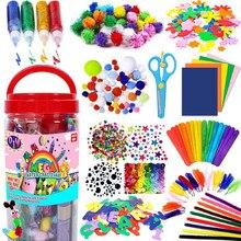 Renkli peluş sopa yün Pompoms malzemeleri çocuklar DIY Montessori zanaat boru matematik sayma eğitim sopa çocuk bulmacalar oyuncak