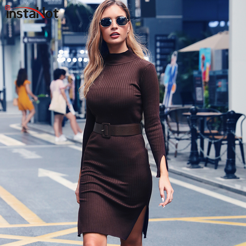 InstaHot Brown Elegant Knitted Dress Women Autumn Mock Neck Sweater Pencil Slit Hem Holiday Solid Ladies Winter With Belt