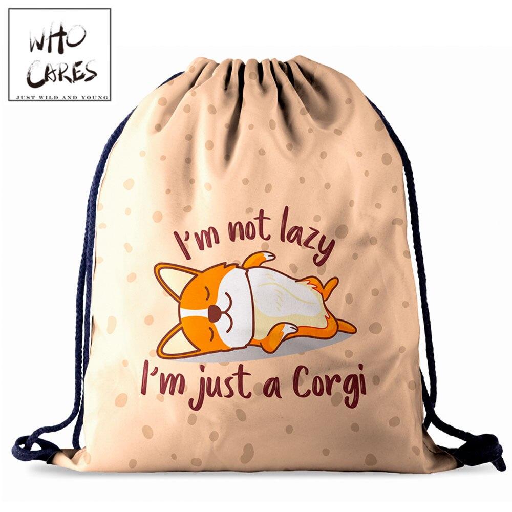Who Cares Women Drawstring Bag Girl Travel Softback Worek Plecak Sznurek Mochilas Mujer Cargi Dog 3D Printing Backpack