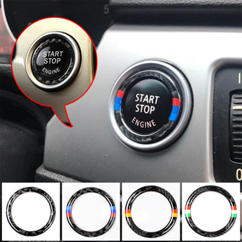 For BMW E90 E92 E93 For M 3 Series German Flag Auto Engine Start Stop Circle Ring Covers Stickers Car Styling Accessories image