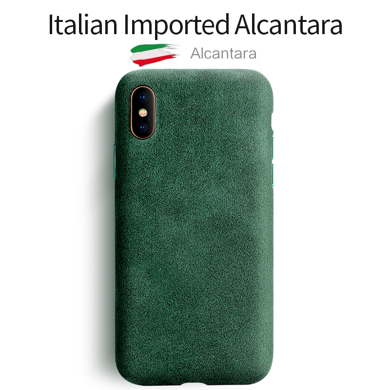 SanCore for iPhone X XS Max Phone Case Leather Full-protection ALCANTARA Business Leather Luxury Phone Shell Suede Back Cover