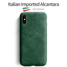 Sancore iphone x xs最大電話ケース人工革保護アルカンタラビジネス電話シェルスエードバックカバーバッグ