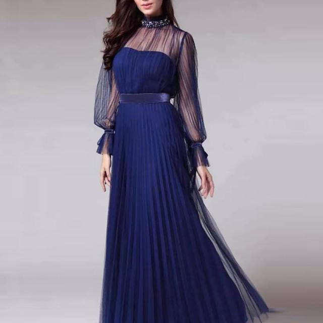 Spring and summer new blue temperament  dress female banquet annual meeting atmosphere long style dress 4
