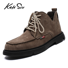 купить KATESEN NEW Men Chelsea Boots Ankle Boots Fashion Men's Male Brand Leather Quality Slip Ons Motorcycle Man Warm Free shipping дешево