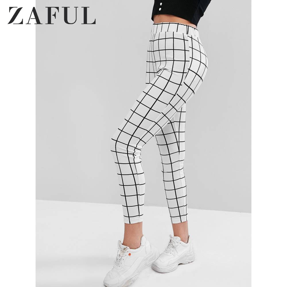 ZAFUL Inspection Leggings Checked Leggings Athleisure Style Mid Waist Women'S Slim Bottoms 7/8 Length Daily Street Occasion 2019