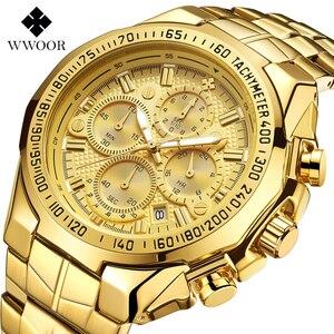 WWOOR-reloj de oro para hombre, relojes deportivos grandes de lujo para hombre, de pulsera, resistente al agua, con cronógrafo, Masculino