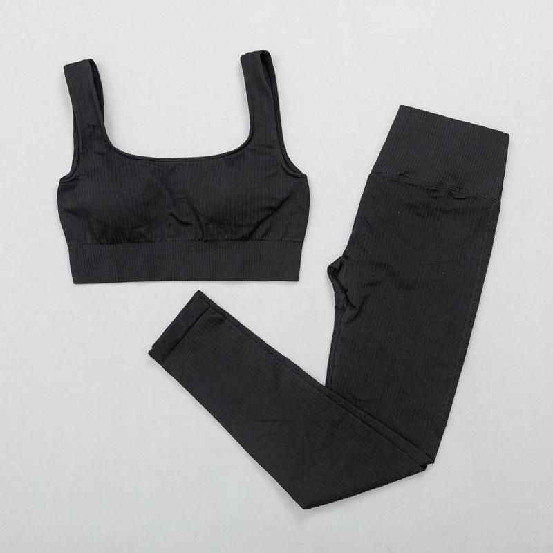BraPantsBlack - Women's sportswear Seamless Fitness Yoga Suit High Stretchy
