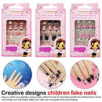 Children Candy False Nail Tips Manicure Beauty Tools 24pcs 9 Designs Short Head Cute Bear Strawberry Heart Fake Nails