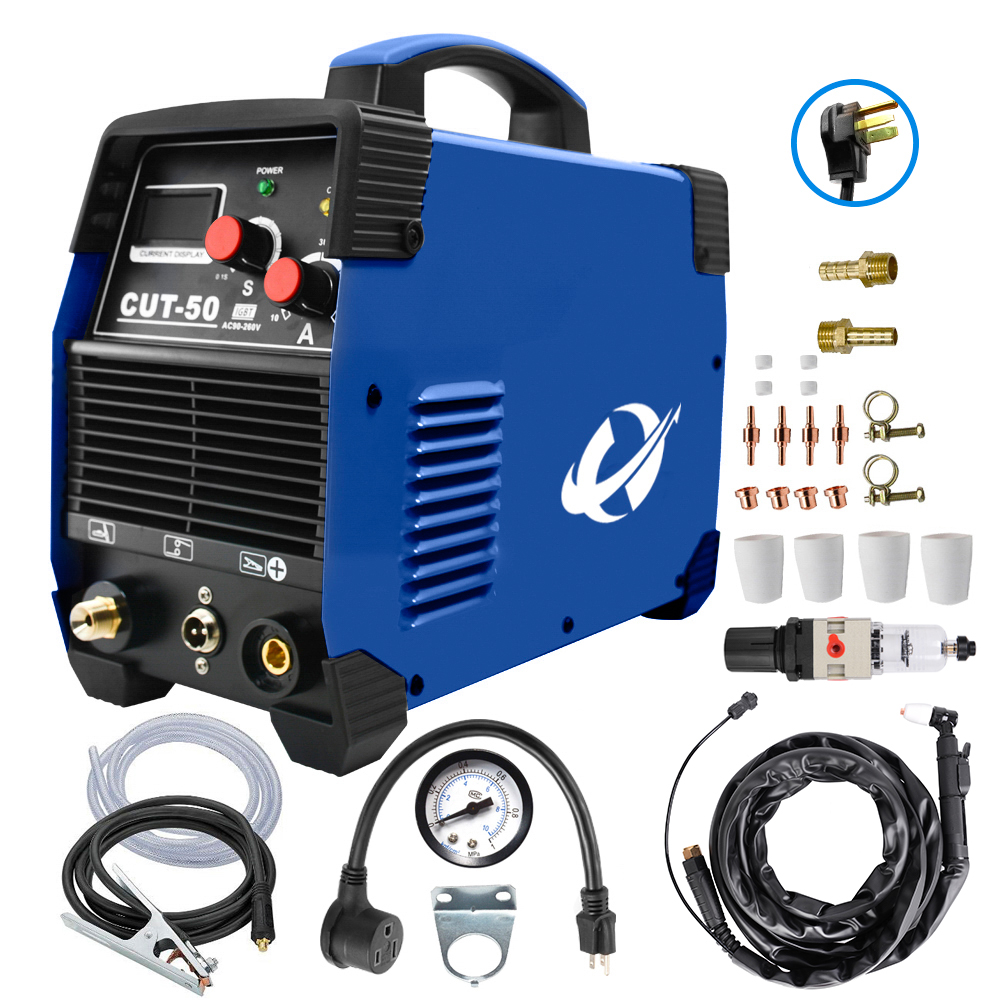 Cortador de plasma, 50a inversor AC-DC igbt dupla tensão (110/220 v) cut50 profissional portátil máquina solda acessórios livres