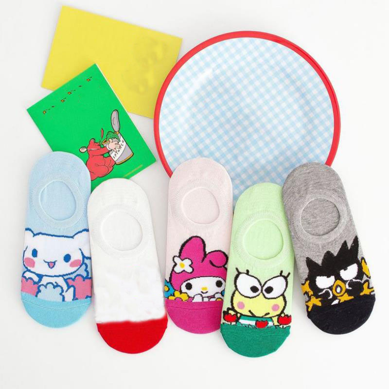 1pair Cartoon Short Sock Plush Toys Sanrio Series Melody Cinnamoroll Frog Summer Invisible Socks Casual Personality Socks Gift