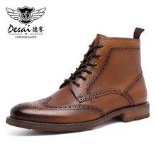 DESAI 2020 Herbst NEUE Männer Stiefel Große Größe 38-47 Vintage Brogue College Stil Männer Schuhe Casual Mode Spitze -up Warm Stiefel Für Mann