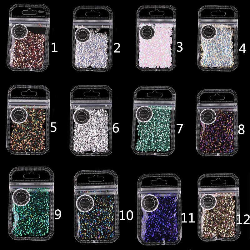 12 צבע ציפורניים גליטר פתיתי נוצץ 3D צבעוני פאייטים Spangles פולני מניקור מקצועי ציפורניים אמנות קישוטי TSLM2