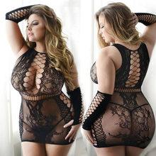 De talla grande ropa interior Sexy Babydoll erótico ropa interior Mujer ropa interior de encaje negro camisón Porno trajes ropa de dormir Sexy vestido trajes