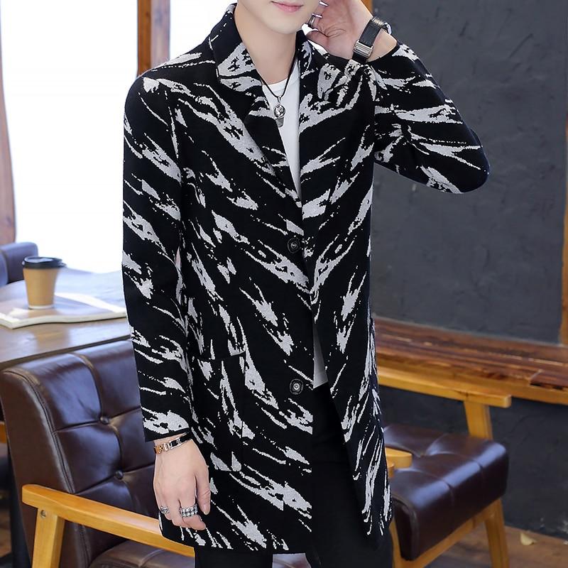 Covered Coat Cloth Male Winter Woolen Autumn Men's Long Casual Fashion Button Slim Streetwear