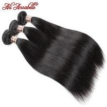 Ali annabelle pacotes de cabelo reto 100% tecer cabelo humano 3 4 pacotes de cabelo 10 - 30 polegadas extensões de cabelo humano em linha reta