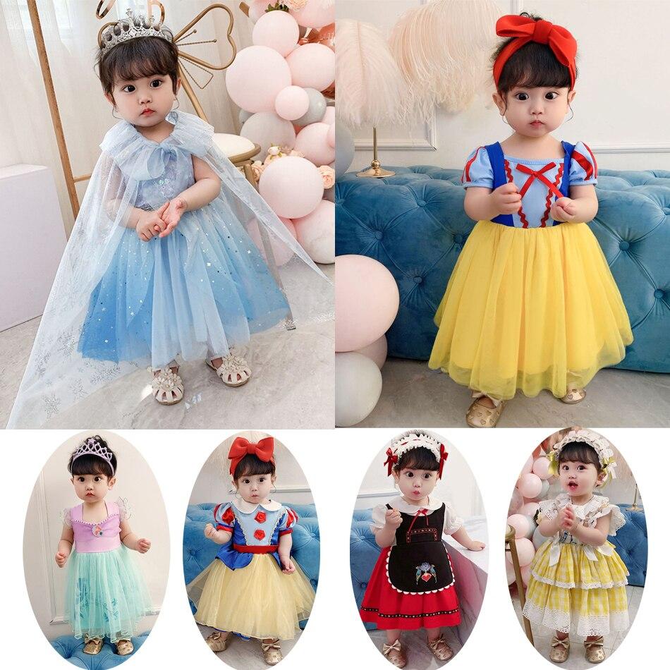 Bebê neve vestido branco crianças cosplay vestido elsa sereia lolita pequeno vestido recém-nascido princesa cosplay roupas