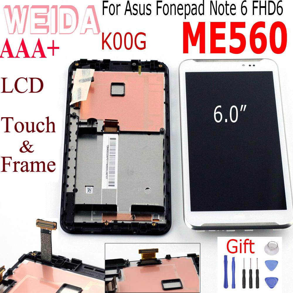 "Weida 6"" For Asus Fonepad Note 6 FHD6 ME560CG ME560 LCD Display Touch Screen Digitizer Assembly with Frame For Asus ME560 Touch