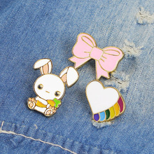 Cartoon Animals Brooches Bunny Rabbit Bow-knot Heart Enamel Pins Button Combination Denim clothes Kid Gift Jewelry Badge Brooch