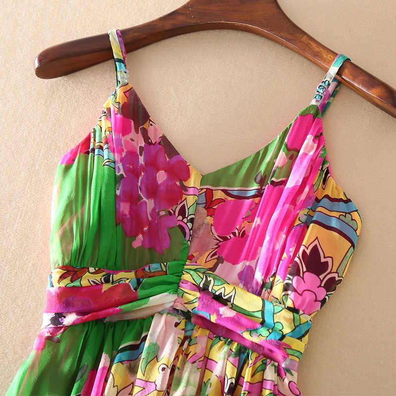 2020 été femmes élégant fleur sans manches longue robe de haute qualité bohème imprimé naturel robes en soie