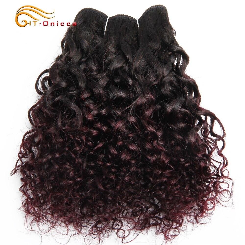 6Pcs/Lot  Curly Bundles Jerry Curl Double Drawn   Funmi Hair T1B 30 99J Colored Hair  Htonicca 6