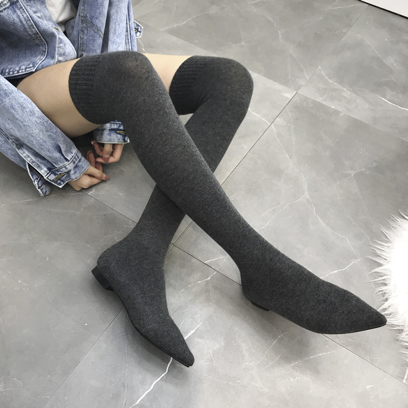 Купить с кэшбэком Stretch Fabrics Women's Over The Knee Boots Pointed Toe 2 Colors Knitting Thread Flat Boots NIUFUNI Spring Winter Woman Shoes