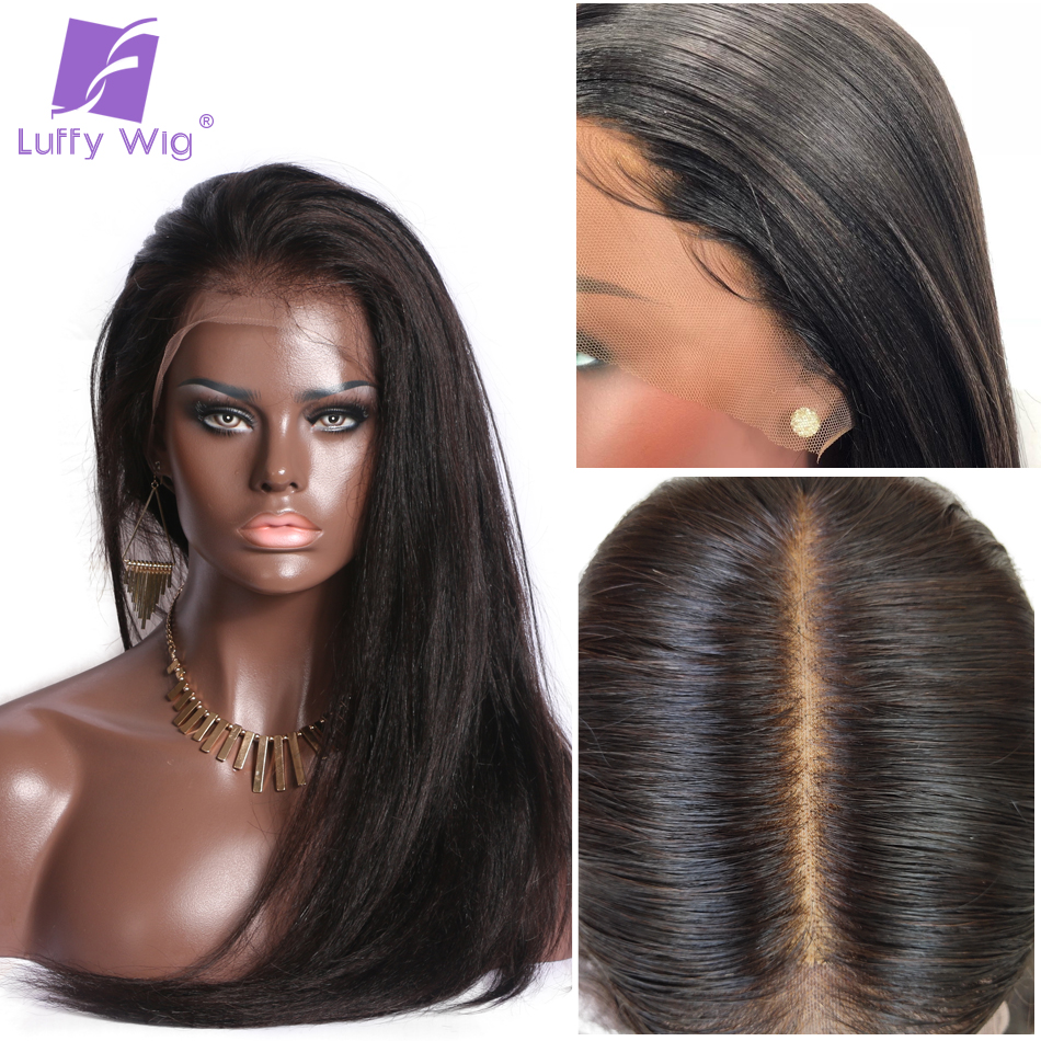 13x6 Yaki Straight Fake Scalp Human Lace Wigs PrePlucked 150% Glueless Remy Brazilian Lace Front Wig Bleached Knots LUFFY