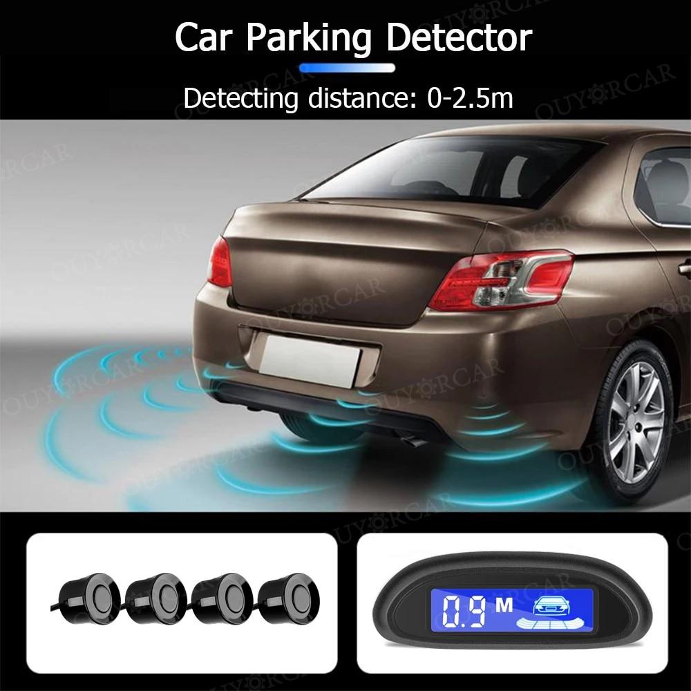 Car Auto Parktronic LED Parking Radar With 4 Parking Sensors Backup Car Parking Radar Monitor Detector System Backlight Display 5