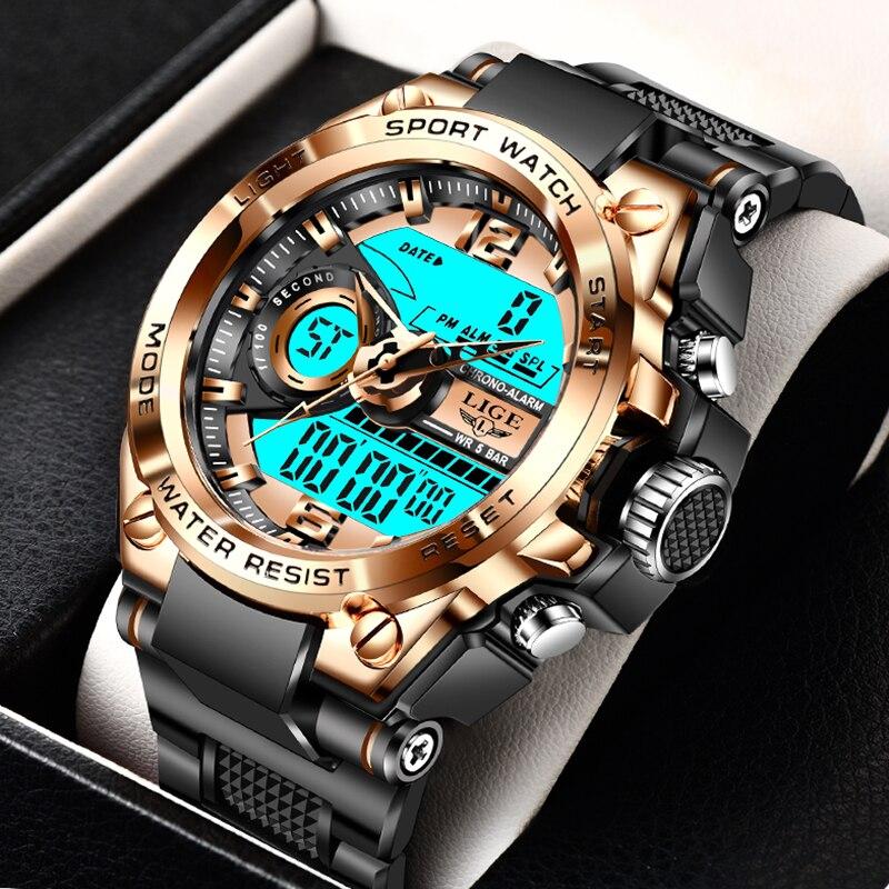 LIGE Sport militaire montre-bracelet hommes montres marque mâle montre pour hommes horloge double affichage montre-bracelet armée extérieure étanche montre