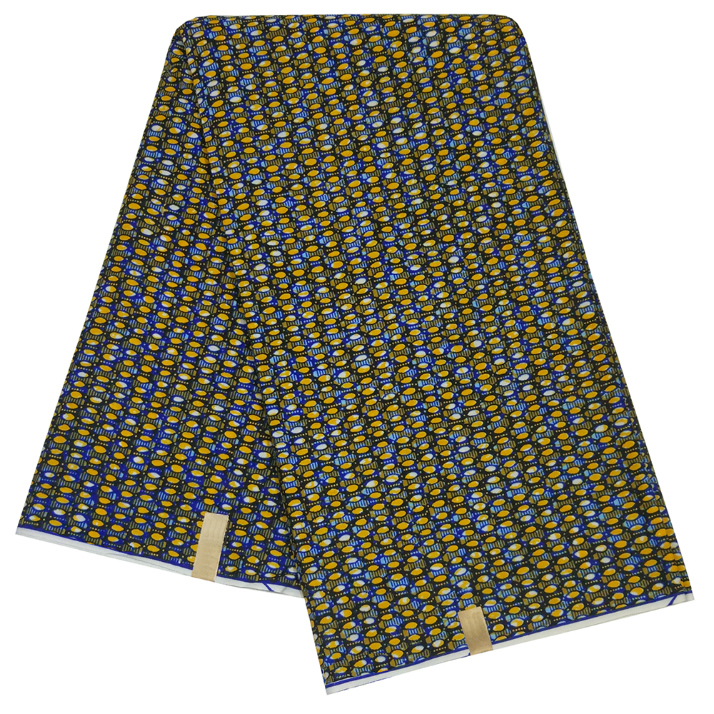 2019 Newest Fashion Yellow And Blue Pattern Printed African Nigeria Pagne Java Tissus Sewing Guaranteed Wax Fabric 6Yards