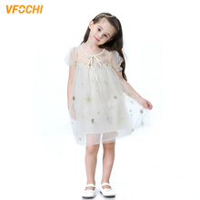 VFOCHI New Girl Princess Dresses Summer Cute Girls Clothes Pink Lace Baby Kids for 2-10Y Ball Gown