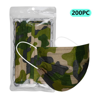 10-100Pcs Breathable Disposable Mouth Mask With Earloop Adults Non-woven 3-Ply Camouflage Face Mask Leopard Printing Respirator