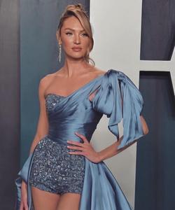 Image 5 - 오스카 2020 Candice Swanepoel 연예인 레드 카펫 바지 높은 낮은 하나의 어깨 공식적인 가운 이브닝 드레스