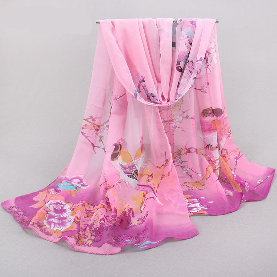Brand New Chiffon   Scarf   Women imitation Silk   Scarves   Chiffon Thin Shawl Female Foulard Flower Hijab Stoles   Wraps   Wholesale