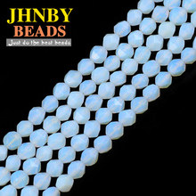 JHNBY Faceted White Opal Natural Stone 8MM 48pcs Spacers Charm Loose beads for Jewelry making DIY bracelets necklace accessories