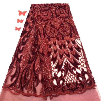 Newcoming african sequins velvet lace fabric good quality african velvet lace comfortable lace for dress 5yards      DPNO163