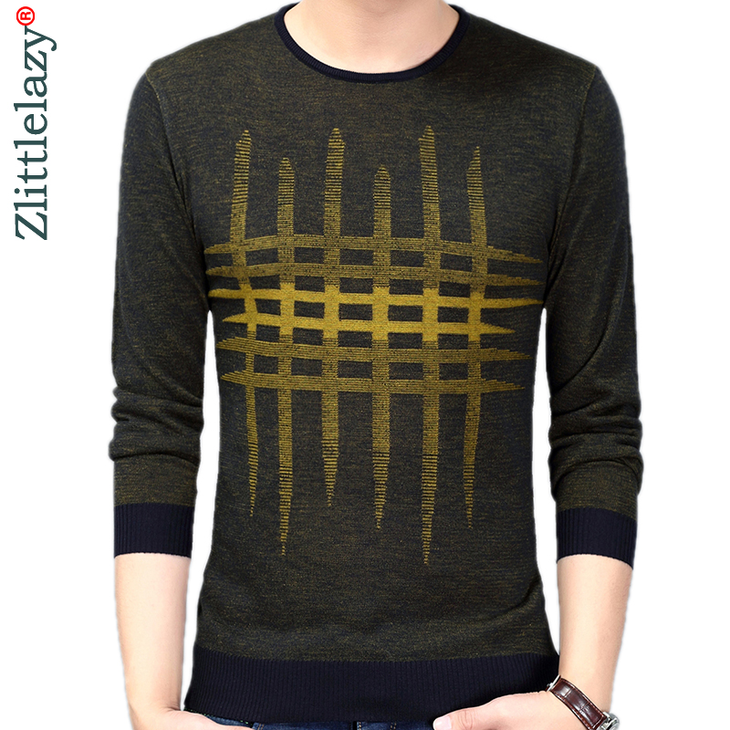 2019 Brand New Casual Thin Plaid Knitted Pull Sweater Men Wear Jersey Dress Luxury Pullover Mens Sweaters Male Fashions 81006