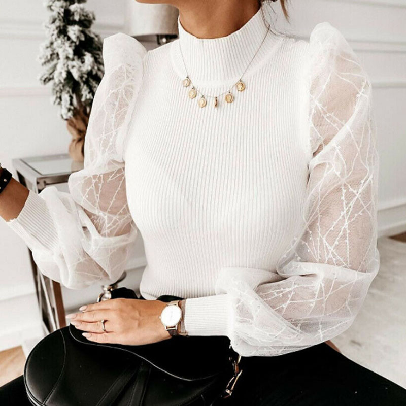 2020 New Sweet Women Sheer Top Female Fashion Casual Mesh Puff Sleeve Blouse Elegant Slim Club Tops Autumn Clothes