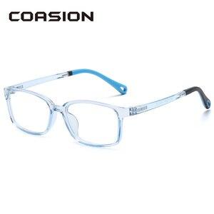 Coasion luz azul óculos de bloqueio crianças tr90 quadrado quadro flexível óculos de computador para meninos e meninas idade 5-15 ca1727