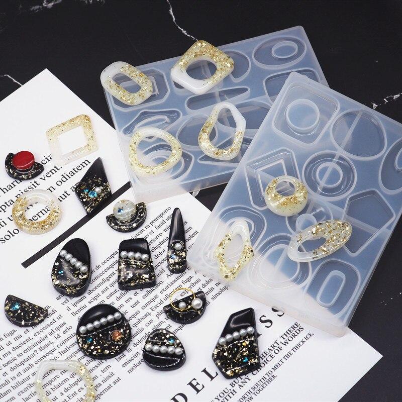 DIY Crystal Resin Mold Geometric Irregular Earring Mold Traditional 6 Lattice Necklace Pendant Earring Jewelry Mold