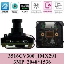 ソニーIMX291 + 3516CV300 ipカメラモジュールボードirc 2.8 12 ミリメートル魚眼パノラマH.265 3MP 2048*1536 1080 1080p onvif cms xmeye rtsp P2P
