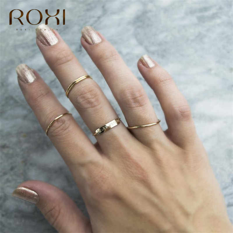 روكسي بسيط 925 فضة خواتم للنساء التراص الإناث رقيقة خواتم الاصبع مجوهرات داينتي الزفاف الفرقة خواتم الخطبة