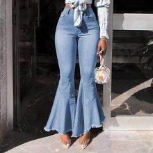 Skinny High Waist Flared Wash Denim Jeans Retro Stretch Boyfriend Flare Pants Large Size Female Wide Leg